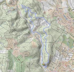 Wanderstrecke Hofheim - Meisterturm - Kaisertempel - Lorsbachtal
