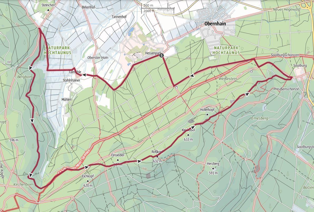 Karte zur Wandertour Hessenpark - Saalburg