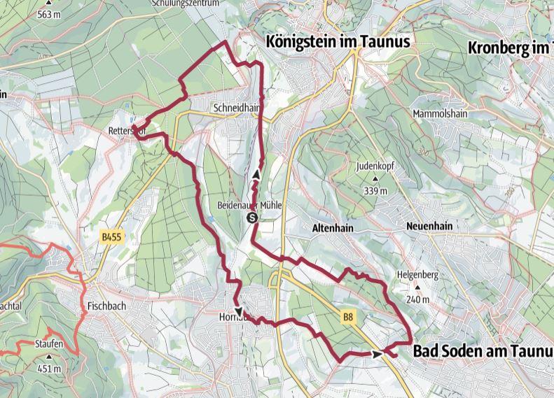 Karte Bad Soden - Rote Mühle Rettershof - Kelkheim - Eberhards Scheuer
