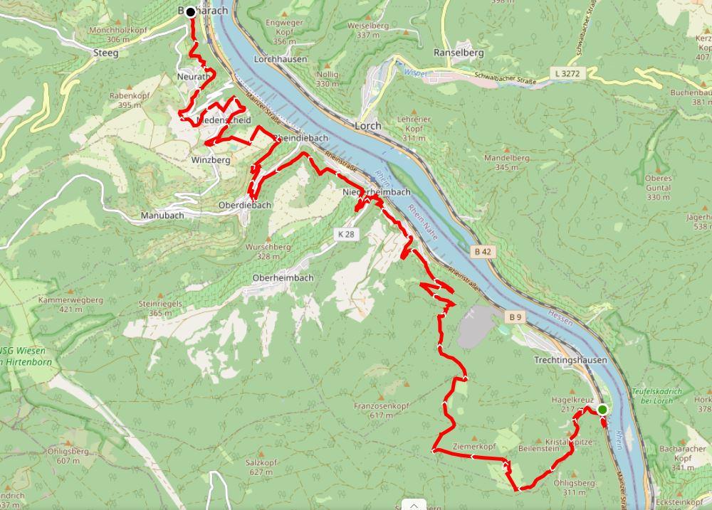 Karte Rheinburgenweg von Trechtingshausen nach Bacharach